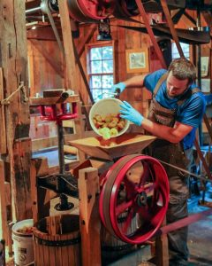 Picture of a man pouring apples out of a bucket into a cider press