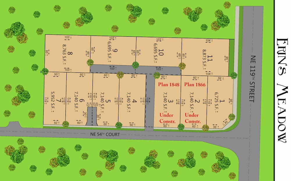 Illustration of a map of the Erin's Meadow area and housing plots